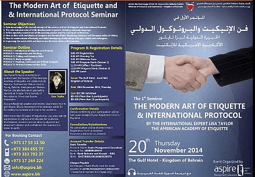 International Etiquette Conference Poster board